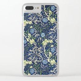 William Morris Blue Daisies Clear iPhone Case