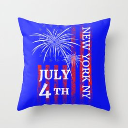New York City 4th of July Independence Day Throw Pillow