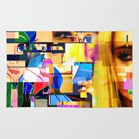 lindsay lohan Area & Throw Rugs featuring Lindsay-Alice-Court-Glitch by Peter Marsh