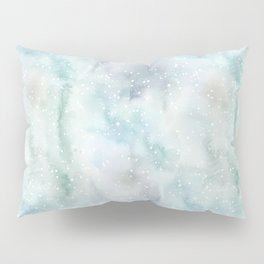 Pastel lavender teal white watercolor splatters Pillow Sham