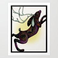 jackalope Art Prints featuring Jackalope by Lauren Stenger