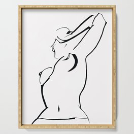 Minimal Line Drawing of Woman Serving Tray