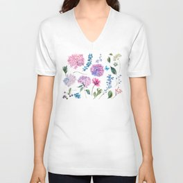 Blooming Hydrangea and garden flowers Unisex V-Neck