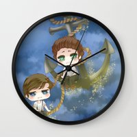 larry stylinson Wall Clocks featuring Larry Stylinson - Anchor and rope by Yorlenisama
