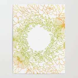 Tangerine and Olive Flowery Linocut Wreath Poster
