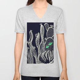 Cactus 72 black green Unisex V-Neck