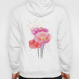 Colorful Watercolor Poppies Hoody