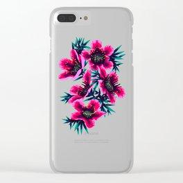 Manuka Floral Print Clear iPhone Case