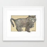 furry Framed Art Prints featuring Furry Cat by Felis Simha