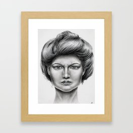 Untitled - charcoal drawing -pretty girl, beauty, woman, angry, gibson girl style, traditional art Framed Art Print