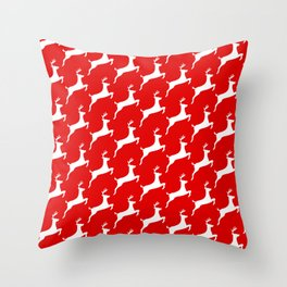 Red & White Reindeer Pattern Throw Pillow