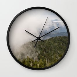 Fog rolling in over the Smoky Appalachian Mountains Wall Clock