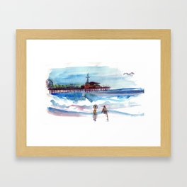 At the Pier Framed Art Print