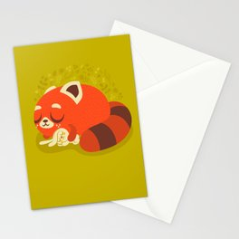Sleeping Red Panda and Bunny / Cute Animals Stationery Cards