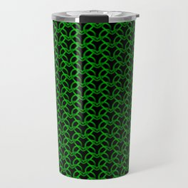 Royal metal pattern of green hearts on a black background. Travel Mug
