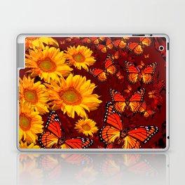 Golden Yellow Sun flowers & Orange Monarchs Brown Art Laptop & iPad Skin