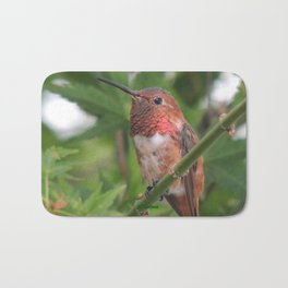 Hummingbird in the Japanese Maple Bath Mat