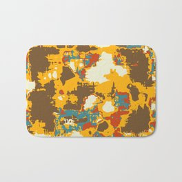psychedelic geometric painting texture abstract in yellow brown red blue Bath Mat