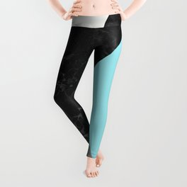 Black and White Marbles and Pantone Island Paradise Color Leggings