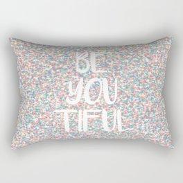 Be You Beautiful Rainbow Paint Splatters Rectangular Pillow