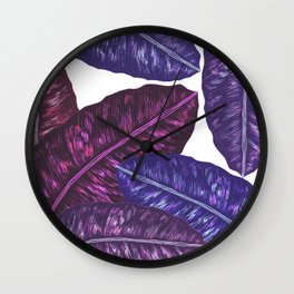 Tropical Leaves - Ultra Violet 1 Wall Clock