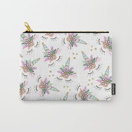 Modern cute whimsical floral unicorn pattern illustration gold glitter polka dots Carry-All Pouch
