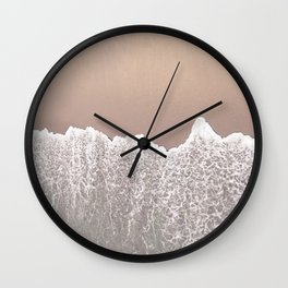Ocean Wave // Arial Photograph of Sand Beach in Huntington CA from the Pier Contemporary Look Wall Clock