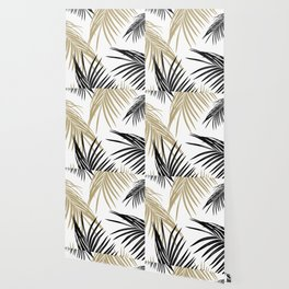 Gold Black Palm Leaves Dream #1 #tropical #decor #art #society6 Wallpaper