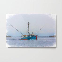 Blue Shrimp Boat on Grey Day Metal Print