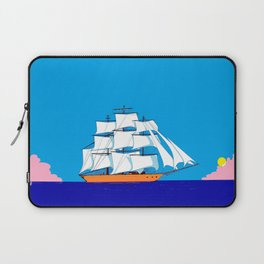 A Clipper Ship at Sunset, Pink clouds and Sun, Nautical Scene Laptop Sleeve