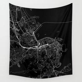 Rio De Janeiro Black Map Wall Tapestry