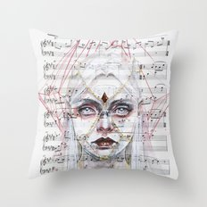 Queen of Diamonds on sheet music Throw Pillow
