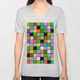 Checker Board Square Pattern Unisex V-Neck