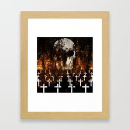"""Death Reigns"" - Skull and Crosses Framed Art Print"