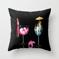 cocktail Throw Pillows featuring Cocktail by Simone Gatterwe