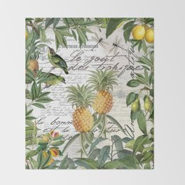 Tropical Fruit Illustration Vintage Style Throw Blanket