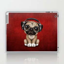 Cute Pug Puppy Dj Wearing Headphones and Glasses on Red Laptop & iPad Skin