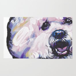 Fun BICHON Frise Portrait Dog bright colorful Pop Art Painting by LEA Rug