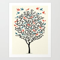 tree Art Prints featuring Out On a Lark by Oliver Lake