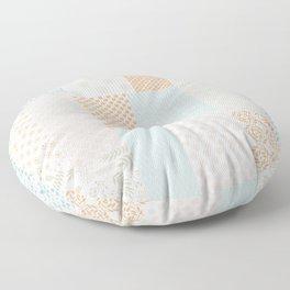 Modern Farmhouse Geometric Floral Quilt Pattern in Citrus Orange Pink Turquoise Beige Floor Pillow
