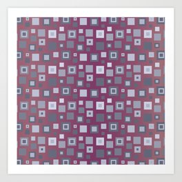 Grey Retro Square Pattern Art Print