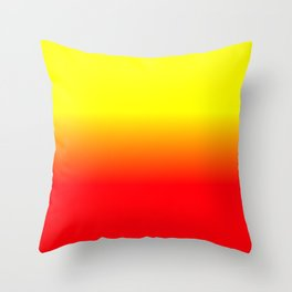 Neon Red and Neon Yellow Ombré  Shade Color Fade Throw Pillow