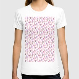 Pastel pink lilac lavender watercolor floral fern leaves T-shirt