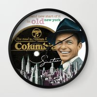 frank sinatra Wall Clocks featuring Frank Sinatra - New York by Dots Studio