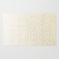 gold glitter Area & Throw Rugs featuring Gold Glitter Ombre Chevrons by Doucette Designs