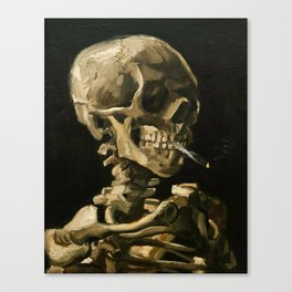 Skull Of A Skeleton With Burning Cigarette Canvas Print