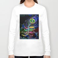 peacock feather Long Sleeve T-shirts featuring Peacock Feather by SwanniePhotoArt