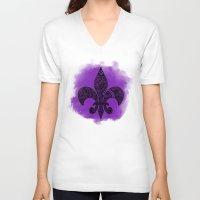 fleur de lis V-neck T-shirts featuring Purple Fleur De Lis by Riaora Creations