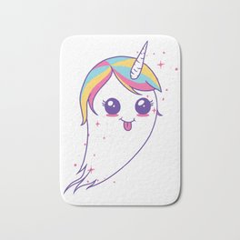 Cute Unicorn Ghost Bath Mat