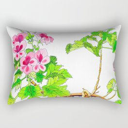 Pink Geraniums Rectangular Pillow